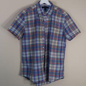 Plaid Light Blue Short-Sleeve Casual Shirt